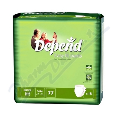 Depend Easy Fit Super inkont.kalh.vel.S/M 18ks